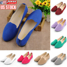 Women's Slip On Comfy Suede Ballet Flats Loafers Summer Casual Soft Pumps Shoes