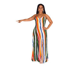 Sexy Women Colorful Stripe V Neck Spaghetti Strap Loose Casual Summer Long Dress