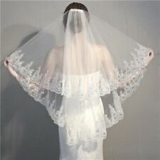 2 Layer Elbow Bridal Wedding Veil With Comb Lace Edge Applique Beading