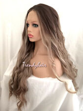 Brown Rooted Ash Blonde/Brown Long Wavy Premium Synthetic Soft Swiss Lace Wig