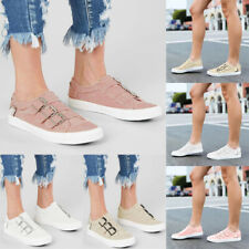 Womens Metal Buckle Canvas Loafers Pumps Casual Slip On Flat Sneakers Shoes Size