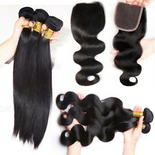 3 Bundles with Lace Closure 100% Unprocessed Virgin Human Hair Straight Wavy