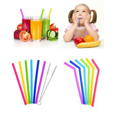6x Reusable Food Grade Silicone Drinking Straight Bent Straw Straws With.Brushes