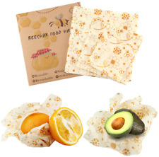 Reusable Food Wraps Fresh Food Kitchen Storage Cover Beeswax Cloth 3 Pieces