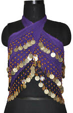 Belly Dancing Hip Scarf Skirt  Wrap Top Purple Silver M
