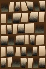 3X8 CARVED ABSTRACT SQUARES MODERN RUNNER RUG 5 COLORS
