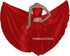 TMS Red Satin Full Circle Skirt Belly Dance 27 Colors
