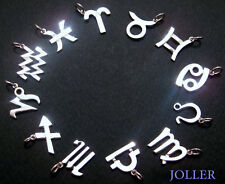 Zodiac Charm Sterling Silver 925 3D Sides Horoscope European Polished & String