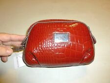 LIZ CLAIBORNE RUBY RED SHINY PLEATED FAUX CROC LEATHER DELUXE WRISTLET PURSE BAG