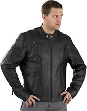 BIKER LEATHER JACKET WITH AIR VENTS-KOSAC COLLAR