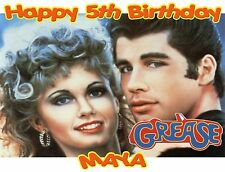 Personalized Grease Theme Edible Cake Topper Image