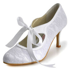 A3039 Closed Toe Pumps Mary-Jane Straps High Heel Lace Prom Party Wedding Shoes