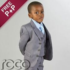 CHEAP SUITS FOR BOYS GREY PROM PINSTRIPE AGE 1 - 12 YRS