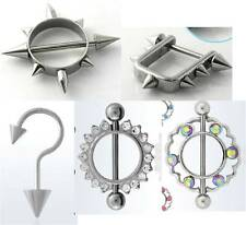 Gothic Nipple Ring Shields w/ Spikes -BarBell Ring Body Jewelry