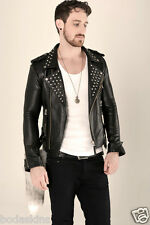 Vintage 80's STUDDED Rock Real Leather jacket QUILTED LINING