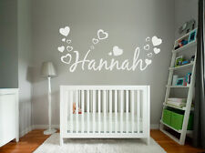 Custom Text/Name Vinyl Wall/Door Sticker, Children/Kids and Hearts Fonts&Colours