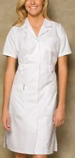 "NWT Dickies Medical Uniform Button Front WHITE Nurse's Uniform Dress 38""  XS-3XL"