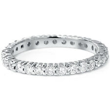 Real 1.00CT Round Diamond Eternity Wedding Ring 14K White Gold Womens Band 4-9