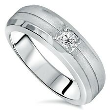 Mens 14K White Gold Ring Solitaire Brushed Geniune Diamond Wedding Band 14KT