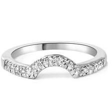 .25CT STUNNING CURVED NOTCHED GENIUNE DIAMOND BAND ENHANCER 14K WHITE GOLD RING