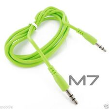 GREEN AUXILIARY CABLE CORD for HTC PHONES - JACK 3.5mm CAR AUDIO MALE AUX WIRE