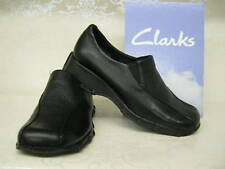 LADIES CLARKS SLIP ON SHOES IDANA BLACK LEATHER FITTING D