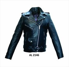 Ladies Full Cut Black Naked Leather Belted Motorcycle Biker Jacket Zip Out Liner
