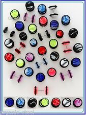 MARBLE UV Cheater DISK Fake Stretcher Ear plug 8 colours 3 Sizes STRETCHED LOOK