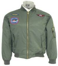 KIDS MA1 GREEN NYLON AVIATION BOMBER JACKET WITH MILITARY PATCHES (KMA1)