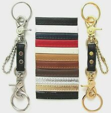 UNISEX LEATHER & GOLD/SILVER MINI TRIGGER SNAP VALET STYLE KEYRING KEY FOB - USA