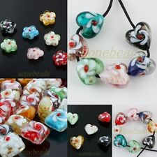 Bulk Lot Mix-color Murano Lampwork Glass Flower Heart Square Loose Spacer Beads