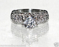 ROUND CUBIC ZIRCONIA CZ SOLITAIRE WOMANS ENGAGEMENT RING 2.3 CT 6, 8, 9 NEW