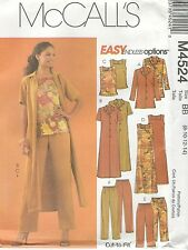 McCall's 4524 M/MP JACKET, DUSTER, TOP, DRESS AND PANTS IN TWO LENGTHS