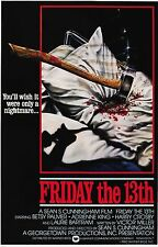 FRIDAY THE 13TH Movie Poster Horror Jason Vorhees