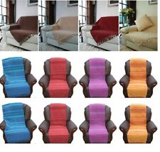COTTON SINGLE SOFA SEAT CHAIR 1/2/3 SEATER SETTEE BED THROWS THROW THROWOVER