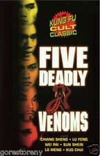 THE FIVE DEADLY VENOMS Movie Poster Kung Fu Cult Classic Shaolin Wu Tang Clan