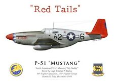 "Print P-51C Mustang, Capt. C. Bailey, 99th FS, 332nd FG ""Red Tails"" (by G.Marie)"