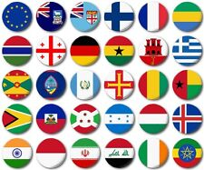 """WORLD FLAGS Various 25mm, 1"""" Button Badge, E to I"""