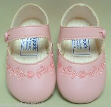 BABY GIRLS PINK FLOWERS MARY JANE PRAM SHOES Sz 3 CHRISTENING PARTY OCCASION