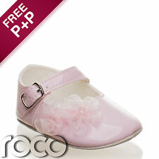 Baby Girl Pink Special Occasion/Christening Buckled soft shoe with Lace Flowers