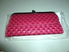 """DIAMOND QUILTED FAUX LEATHER MULTI-POCKET ORGANIZER FRAMED CLUTCH WALLET 8"""" X 4"""""""