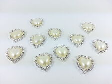Stick On Pearl & Clear HEART Diamante Wedding Invitation Card Making  Toppers