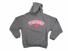 WISCONSIN BADGERS ADULT GREY SCREEN PRINTED HOODED SWEATSHIRT NWT