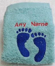 Personalised Baby Feet Face Cloth Flannel Any Name 100% Cotton New Baby Birthday