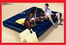 SINGLE OR DOUBLE AIR BED AIRBED WITH INTEGRAL BUILT IN PUMP INFLATABLE FLOCKED