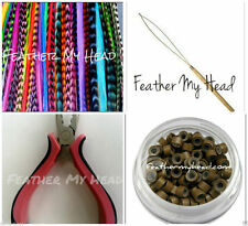 100 Feather Hair Extension, Complete Kit, Premium Grade, Large Color Selection