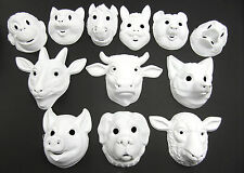 Plain Animal Face Masks White Fancy Dress Childrens Mask With Elastic Party Lot