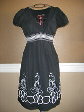 Speed Control LBD Black Floral White Embroidered V-Neck Smocked Cotton Sun Dress