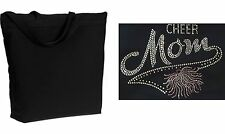 Extra Large Pink Pom Cheer Mom Rhinestone Zippered Tote Bag Lots of Colors!