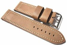 Condor edge cut natural analine tan calf leather watch strap. Straight profile.